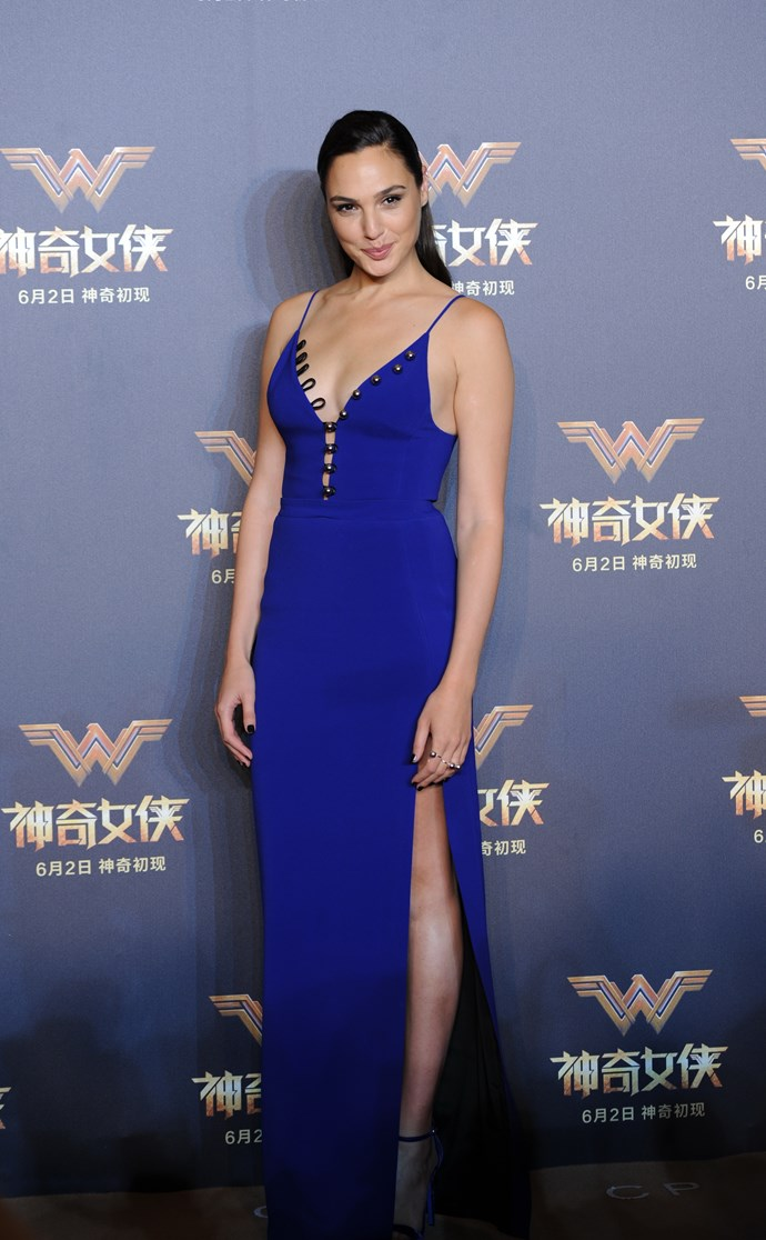 Gal Gadot at the Shanghai *Wonder Woman* press conference in David Koma.