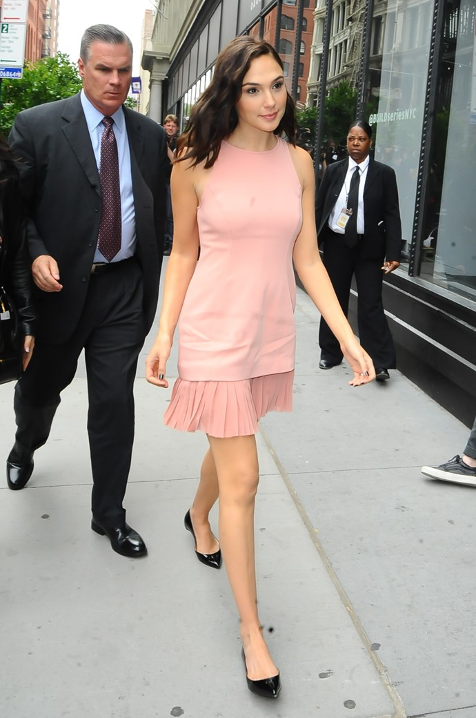 Gal Gadot arriving at AOL Live in Soho.