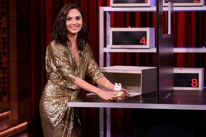 Gal Gadot on *The Tonight Show Starring Jimmy Fallon*.