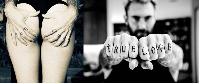 "Adam Levine tattoos ""True Love"" on his knuckles for his wife (and VS model) Behati Prinsloo."