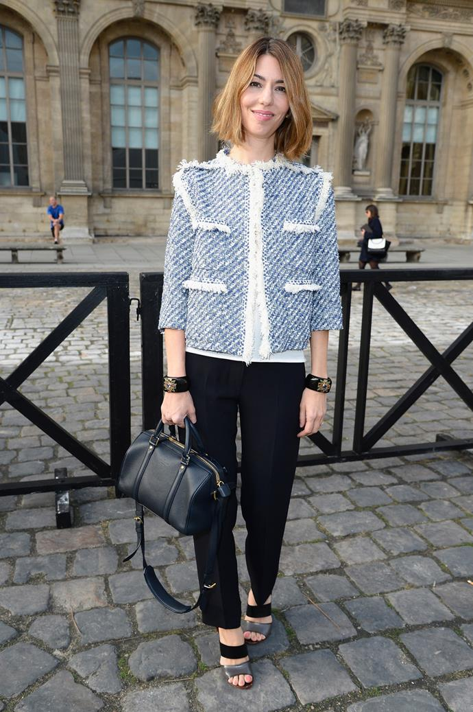 In Louis Vuitton at Paris Fashion Week in 2014.