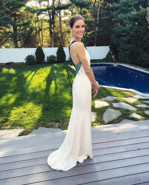 **Hilary Rhoda** <br><br> Married: Sean Avery <br><br> Wearing: Carolina Herrera