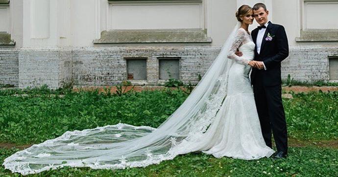 **Kate Grigorieva** <br><br> Married: Alexander <br><br> Wearing: Zac Posen