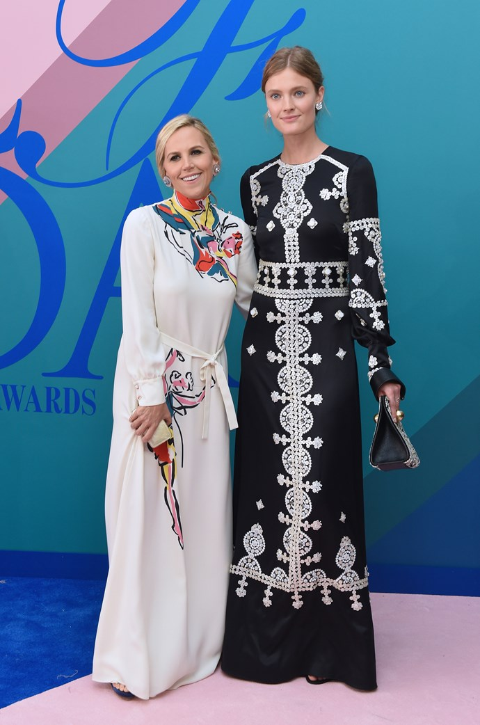 Tory Burch and Jacqueline Jablonski in Tory Burch.