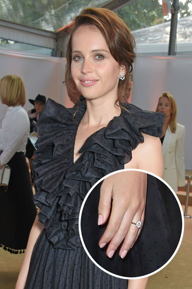 ***Felicity Jones.***<br><br> Felicity Jones got engaged to her long-time boyfriend Charles Guard in March 2018, and her engagement ring, which has a round diamond and gold band, made its red carpet debut in London. It perfectly accessorised her Dior dress.