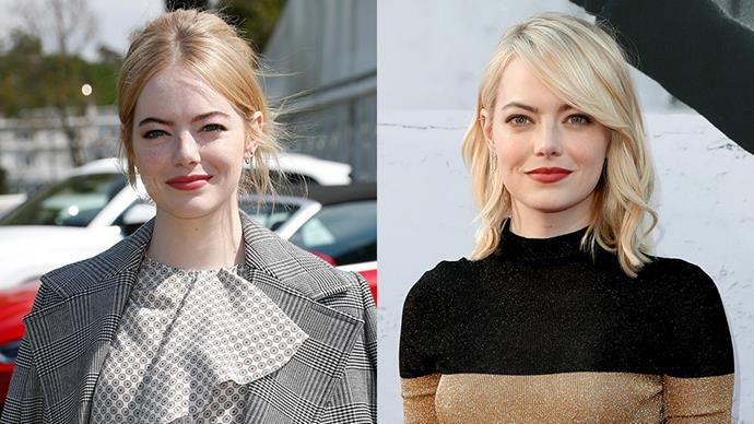 **Emma Stone** <br><br> A few weeks after she debuted some strawberry blonde locks at the polo, Emma Stone showed off her newest colour—a creamy platinum blonde.