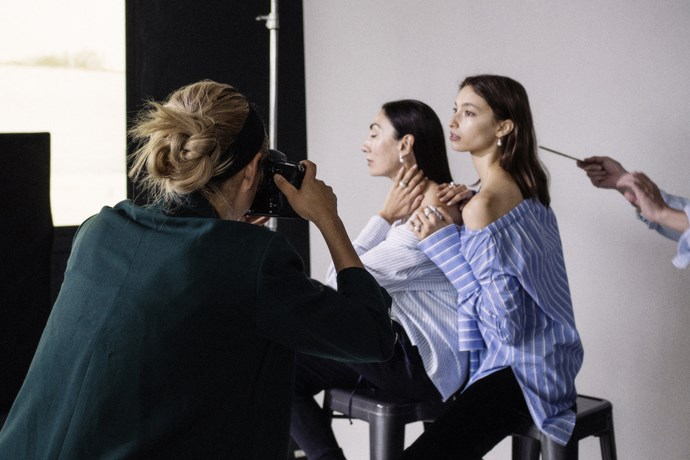 """On set with these formidable women, Alexandra Agoston and Anh Duong, for a Kailis campaign in my favourite studio in Brooklyn (Vandervoort Studio)."""