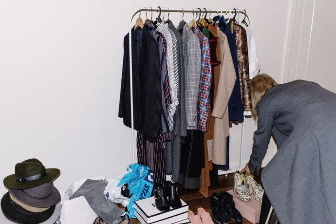 """Styling prep in my apartment for an editorial shoot the next day. Evidently the source of all of my lower back pain."""