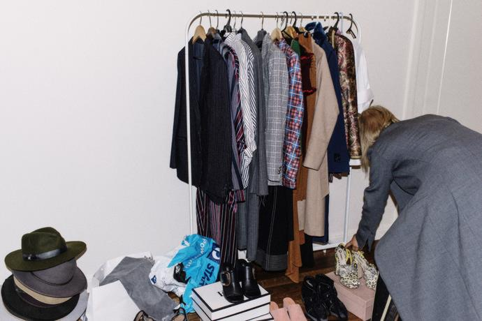 """""""Styling prep in my apartment for an editorial shoot the next day. Evidently the source of all of my lower back pain."""""""
