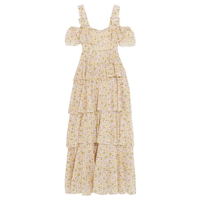 Dress, $878, [ALEXACHUNG at net-a-porter.com](https://www.net-a-porter.com/au/en/product/898220/ALEXACHUNG/cold-shoulder-tiered-floral-print-cotton-voile-dress).
