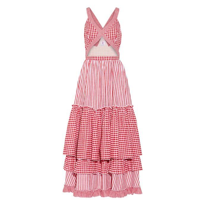 Dress, $518, [Gül Hürgel at net-a-porter.com](https://www.net-a-porter.com/au/en/product/863917/Gul_Hurgel/tiered-cutout-printed-cotton-and-linen-blend-midi-dress).