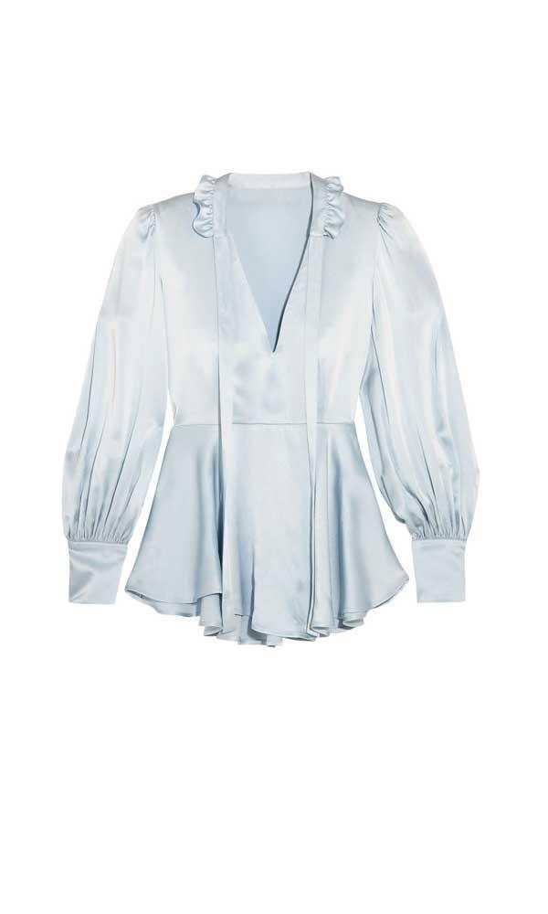 Blouse, $413, AlexaChung at [Net-A-Porter](https://www.net-a-porter.com/au/en/product/898221/alexachung/ruffle-trimmed-satin-blouse)