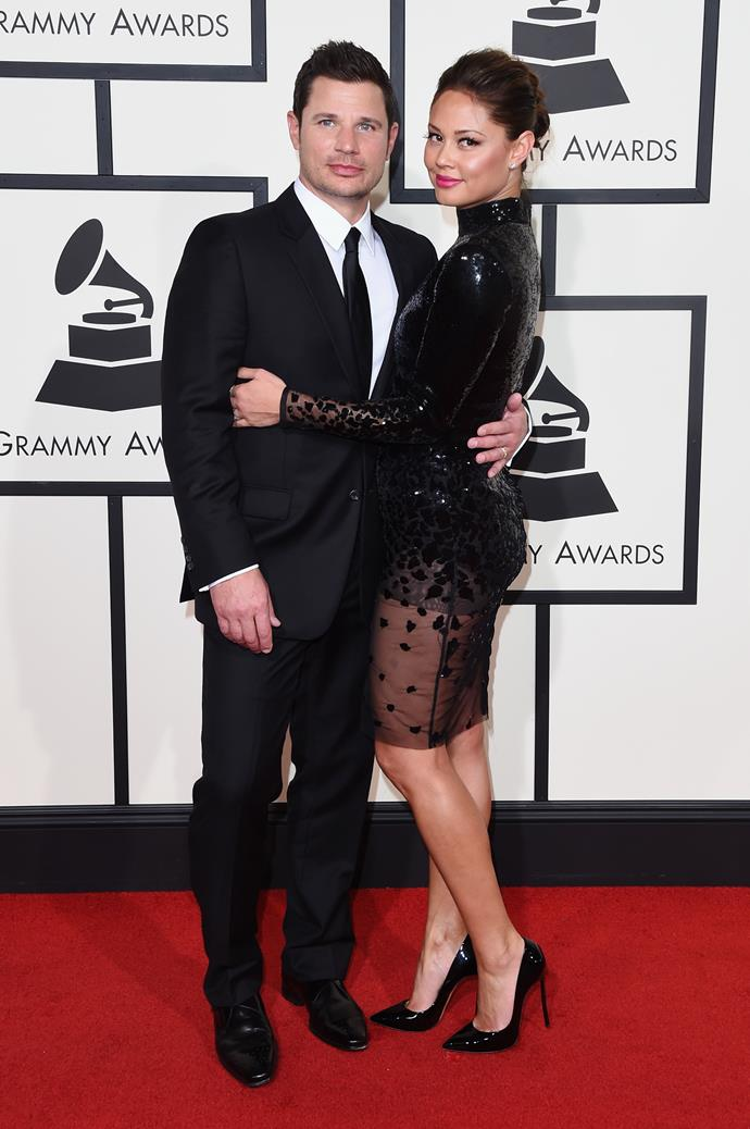 **Nick and Vanessa Lachey** <br> <br> Nick and Vanessa Lachey began dating in 2006 after she starred in the music video for his single *What's Left Of Me*.  The couple broke up briefly in 2009, but eventually rekindled their relationship and went on to get married in July 2011. Since then, the couple have welcomed two children, Brooklyn and Phoenix.