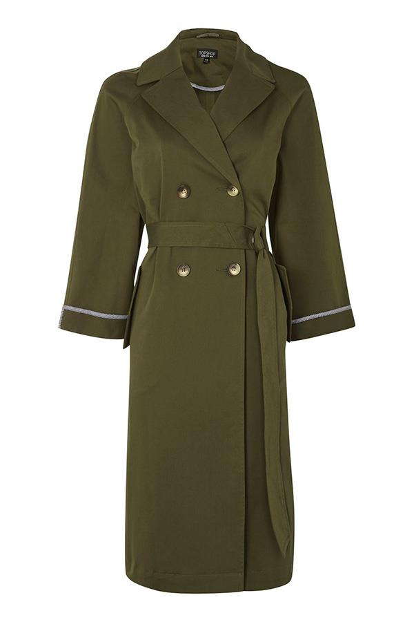 "**A Khaki Overcoat:** Pick a piece with polished details and you'll feel both ready for action *and* pulled-together. Coat, approx $96, [Topshop](http://www.topshop.com/webapp/wcs/stores/servlet/ProductDisplay?searchTermScope=3&searchType=ALL&viewAllFlag=false&beginIndex=1&langId=-1&productId=28314409&pageSize=20&defaultGridLayout=3&CE3_ENDECA_PRODUCT_ROLLUP_ENABLED=N&searchTerm=TS07N04KKHA&productOnlyCount=1&catalogId=33057&productIdentifierproduct=product&geoip=search&x=25&searchTermOperator=LIKE&sort_field=Relevance&y=11&storeId=12556&qubitRefinements=siteId%3DTopShopUK|target=""_blank""