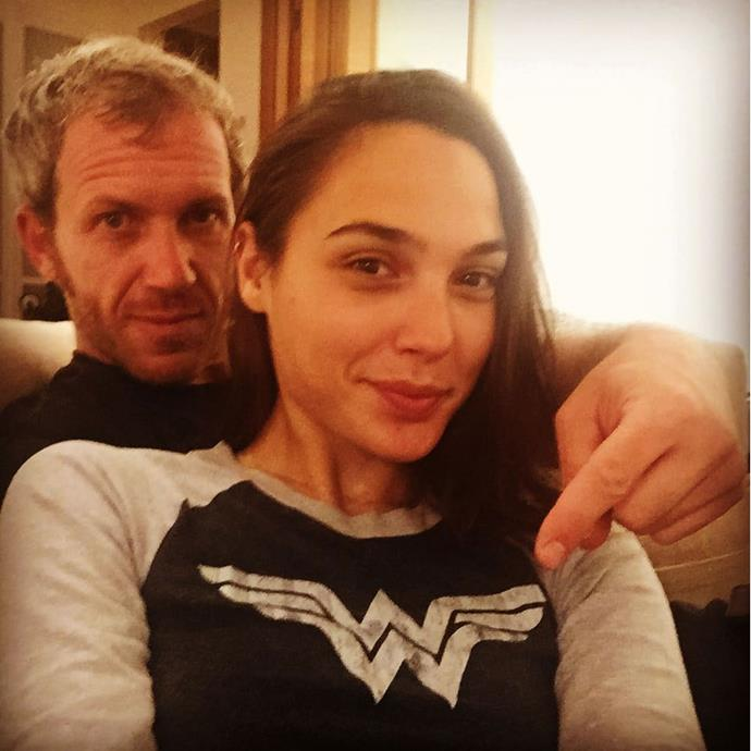 Gal [wore her character]( https://www.instagram.com/p/7JHkuVObeL/) on her shirt, and Jaron looked mighty proud of it.