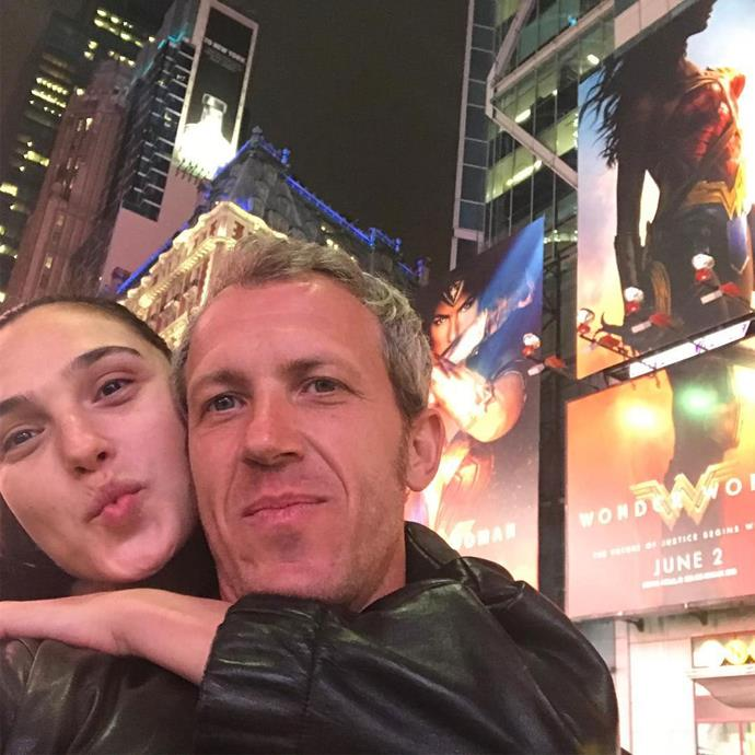 Gal and Jaron [took a selfie](https://www.instagram.com/p/BUaz7Qdltap/) in front of her *Wonder Woman* posters in Times Square.