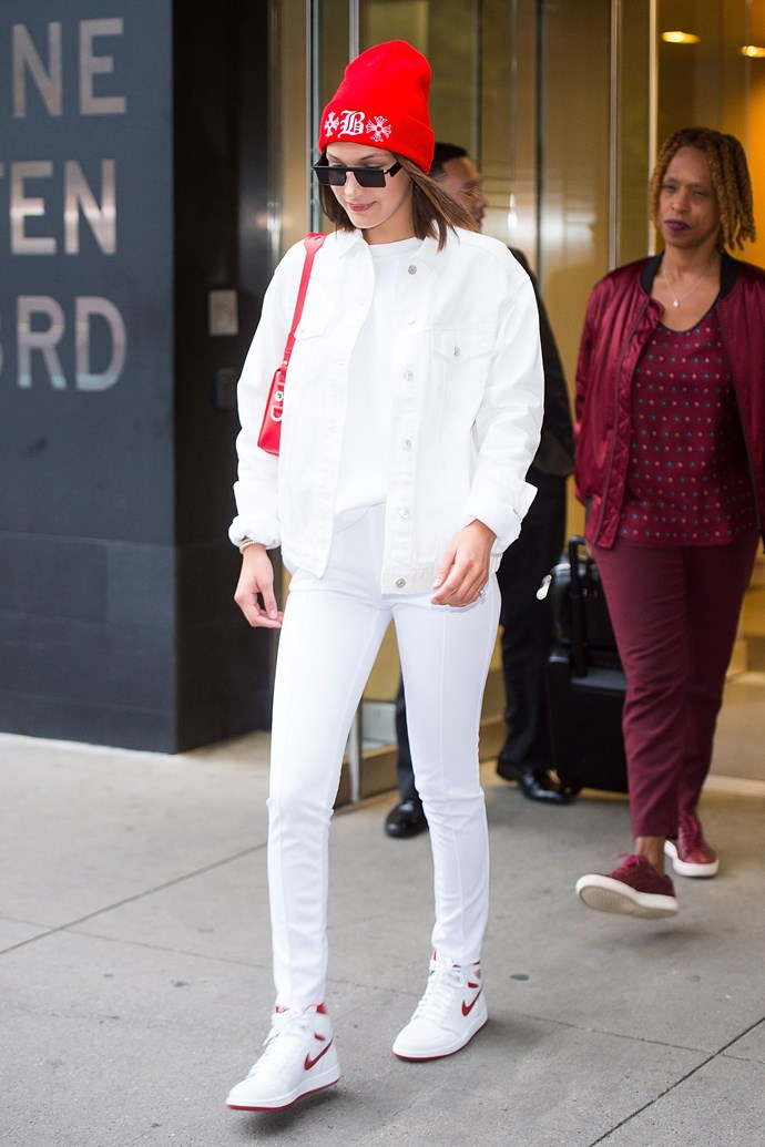 In head-to-toe white while off-duty in New York.