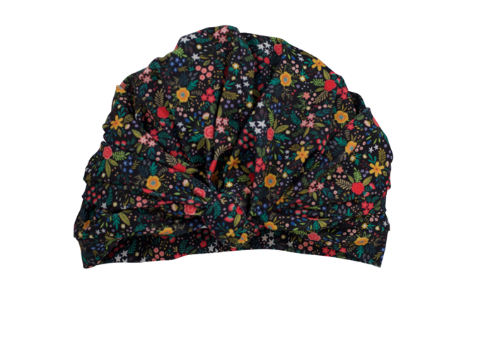 Louvelle Dahlia Shower Cap In Midnight Floral, $40, at [Louvelle](http://www.louvellewear.com/DAHLIA-shower-cap-in-Midnight-Floral_p_250.html).