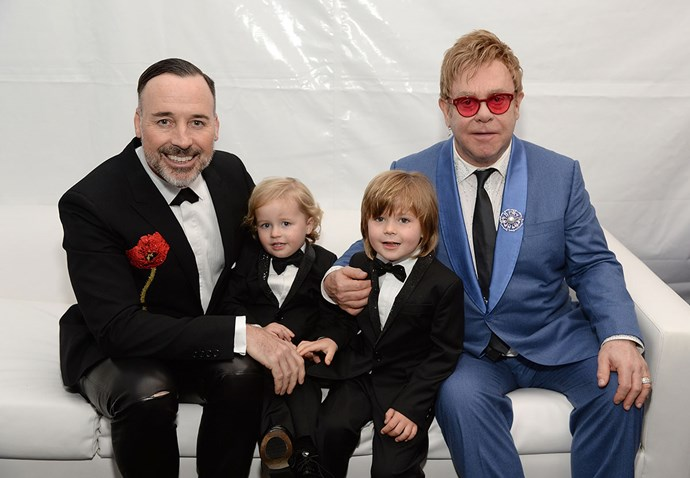"""<strong>Elton John and David Furness</strong> <br><br> Elton and David used the same surrogate, who they love """"like a sister,"""" to carry both of their sons, Zachary and Elijah."""