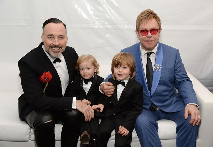 "<strong>Elton John and David Furness</strong> <br><br> Elton and David used the same surrogate, who they love ""like a sister,"" to carry both of their sons, Zachary and Elijah."
