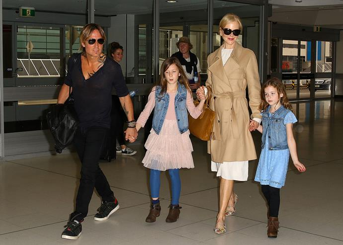 "<strong>Nicole Kidman and Keith Urban</strong> <br><br> Nicole and Keith remained tight-lipped about the arrival of their second daughter, Faith Margaret, until she was born. ""Our family is truly blessed, and just so thankful, to have been given the gift of baby Faith Margaret,"" the family said in [a statement](http://people.com/babies/nicole-kidman-keith-urban-welcome-a-daughter-via-surrogate/), in 2010. ""No words can adequately convey the incredible gratitude that we feel for everyone who was so supportive throughout this process, in particular our gestational carrier."" Nicole gave birth to their first daughter, Sunday Rose, in 2008."