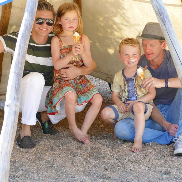 """<strong>Neil Patrick Harris and David Burtka</strong> <br><br> NPH and his husband, David, are parents to twins Gideon and Harper. Of the babies' conception, NPH said, """"We inserted one of my sperm and one of David's sperm into two eggs with the hope that they would both take, just because we both wanted to be dads biologically. Both took, miraculously."""""""