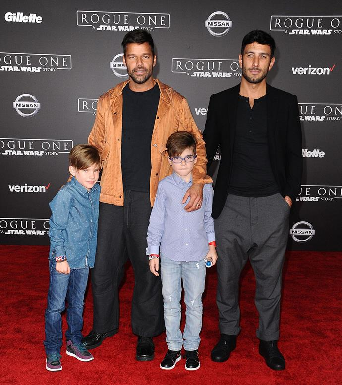 "<strong>Ricky Martin</strong> <br><br> Ricky became the father of twin boys, Matteo and Valentino, in August 2008. They were born by a surrogate mother. ""Ricky Martin became a proud father by the birth of twin sons,"" his rep said in a [statement](http://people.com/babies/ricky-martin-welcomes-twin-boys/). ""The children, delivered via gestational surrogacy, are healthy and already under Ricky's full-time care. Ricky is elated to begin this new chapter in his life as a parent and will be spending the remainder of the year out of the public spotlight in order to spend time with his children."""
