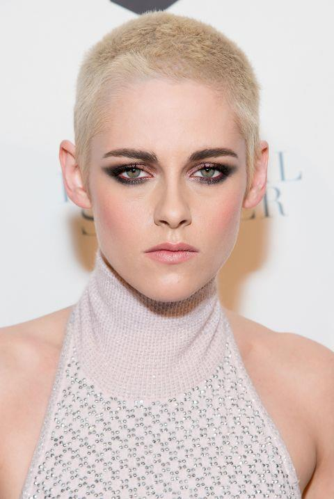 **BLEACHED BLONDE BUZZCUTS**  From Ruth Bell Kristen Stewart, to Katy Perry and Cara Delevingne, the A-list are all over a bleached blonde buzzcut.  'It's the femininity of it. Consumers are going for a short crop but keeping texture in the hair while the blonde retains femininity,' says hair stylist and one half of Percy Reed, Adam Reed.  'Most people can pull it off as long as you're taking into consideration your face shape. For a rounder face, keep it a little longer on top to elongate the face.  'I always say that hair condition is the most important . If it looks shiny, glossy and healthy then it'll always looks better than if it's dull and dirty looking. Good hair condition will make it look like you've done the look on purpose which is key.'