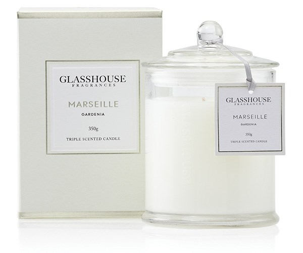 Glasshouse Fragrances Marseille Gardenia Triple Scented Candle, $42.95, at [Glasshouse Fragrances](http://www.glasshousefragrances.com/candles/350g/marseille-gardenia).