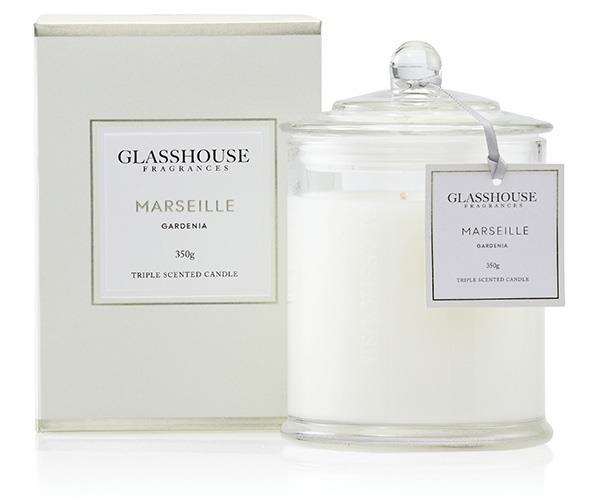Glasshouse Fragrances Marseille Gardenia Triple Scented Candle, $42.95, at [Glasshouse Fragrances](http://www.glasshousefragrances.com/candles/350g/marseille-gardenia).