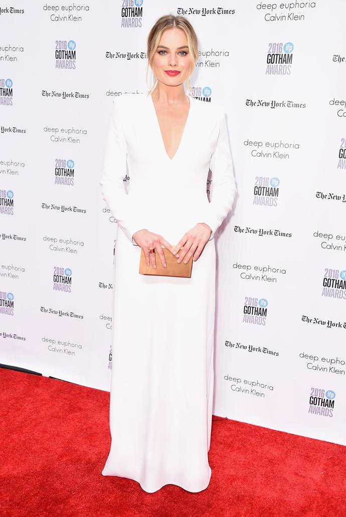 Margot in Calvin Klein at the 2016 Gotham Awards.