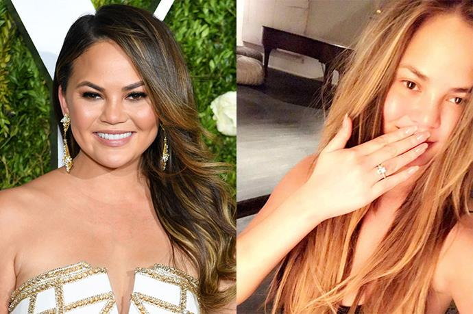 **Chrissy Teigen** <br><br> Chrissy lightened her brown hair to a caramel shade—perfect for the U.S. summer