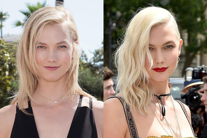 **Karlie Kloss** <br><br> Karlie has always been a fair-haired beauty, but she showed off platinum blonde hair at Dior's Paris couture show.