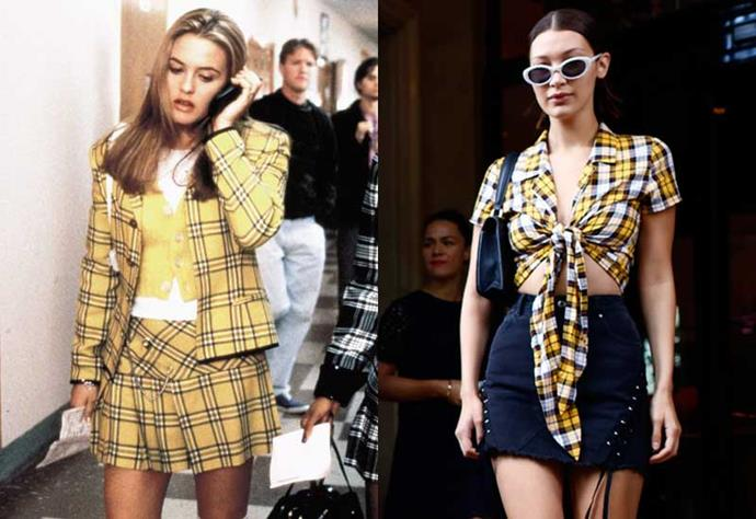 Wearing Cher's signature yellow tartan pattern.