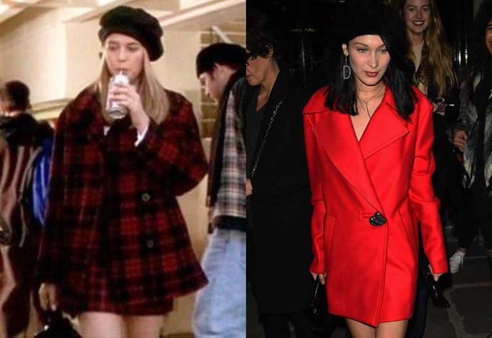 Last but not least, here she is wearing a black beret with a red coat dress, just like Cher.