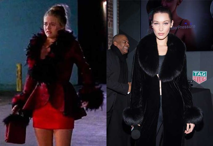 Wearing *very* similar coat to the one Cher wore to Val's big house party.