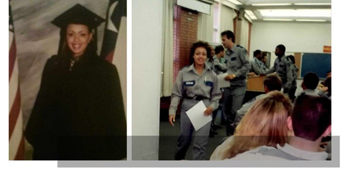 Trevicia as a college graduate (left) and on the day she completed bootcamp (right) to become a corrections officer in a Huntsville-based prison. Her days started at 5 a.m., where she'd yell, 'Pill line get ready!' to the inmates and walked the cells for pat down searches.