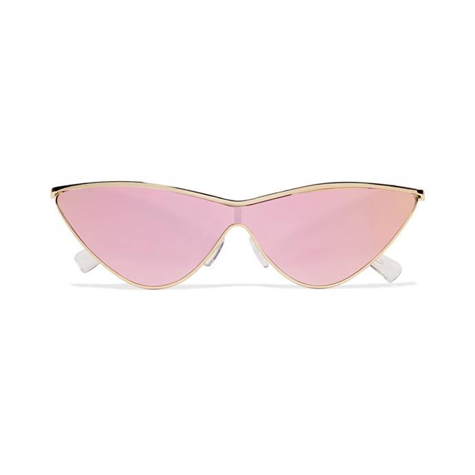 Sunglasses, $132, [Adam Selman x Le Specs at net-a-porter.com](https://www.net-a-porter.com/au/en/product/937692/le_specs/--adam-selman-the-fugitive-cat-eye-gold-tone-mirrored-sunglasses).