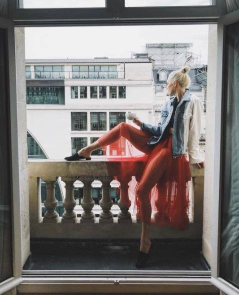 **KARLIE KLOSS** <br></br> Karlie showed off her enviable pins in a red tulle skirt and newly-dyed white-blonde hair before leaving France.
