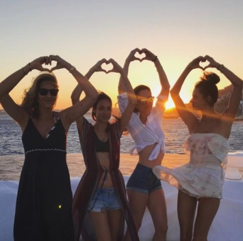 **ALESSANDRA AMBROSIO** <br></br> Alessandra posed with her friends during a trip to Mykonos, Greece.