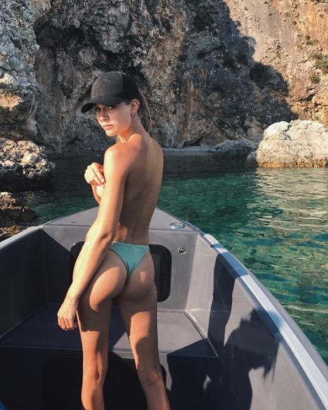 **JOSPEHINE SKRIVER** <br></br> The VS model showed off her 'best side' during an expedition to find hidden beaches in Croatia.
