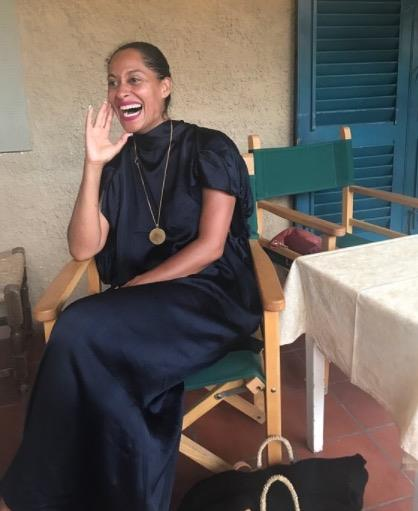 **TRACEE ELLIS ROSS** <br></br> Tracee shows off her scene-stealing smile before heading out to dinner on holiday.