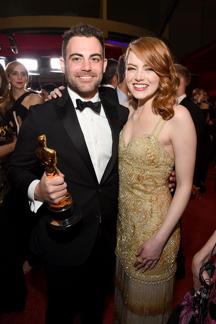 **Emma and Spencer Stone** <br><br> Much like Lupita, Emma enjoys bringing with her brother, Spencer, along for award ceremonies. Most notably, she brought him to the 2017 Academy Awards where she won 'Best Actress' for *La La Land*.