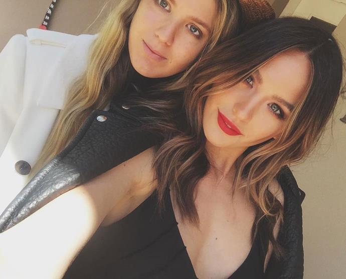 **Jesinta Franklin** with her sister, **Aleysha**.