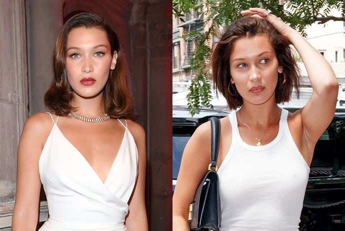 **Bella Hadid** <br><br> She was already rocking a pretty short 'do, but Bella Hadid just cut her bob even shorter.