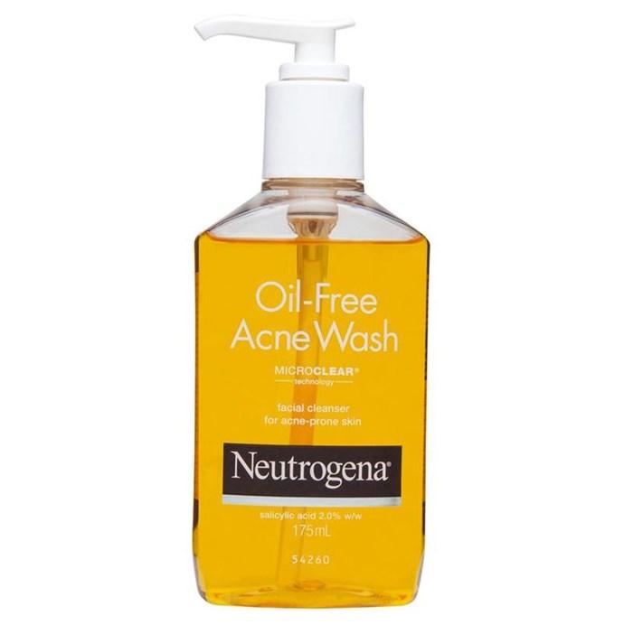 "**Neutrogena Oil-Free Acne Wash, $13.99 at [Chemist Warehouse](http://www.chemistwarehouse.com.au/buy/66993/Neutrogena-Oil-Free-Acne-Wash-175ml|target=""_blank"").** <br><br> **Why it's good:** This face wash contains salicylic acid—a chemical exfoliant that unclogs pores."