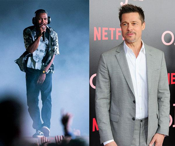 """BRAD PITT AND FRANK OCEAN. Concert shout-out buddies. Ocean filmed Pitt sitting at the side of his stage and [streamed the footage](https://www.youtube.com/watch?v=FOb68uyVhNg) to the big screen on stage. It made for a pretty bromantic moment as Ocean seemingly serenaded Pitt with a mash-up of The Carpenters song, """"Close to You"""" and Jackson 5's """"Never Can Say Goodbye"""". Also note: Ocean is wearing a tee with Pitt's face on it, just to further prove that they are tight."""