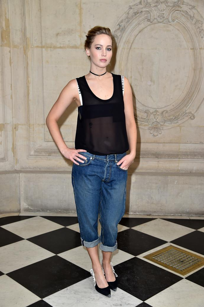 **Jennifer Lawrence**, worn peeking out from under a tank top.