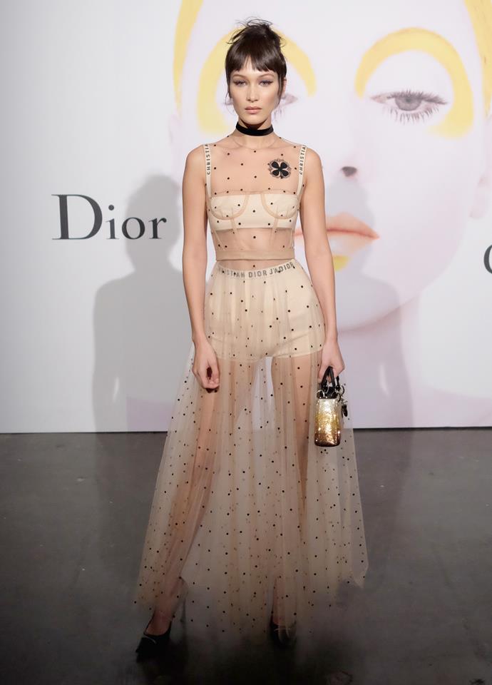 **Bella Hadid**, worn as a set under a sheer dress.