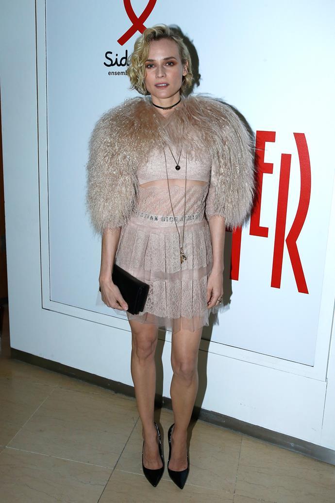 **Diane Kruger**, worn as a base under a sheer mini-dress.